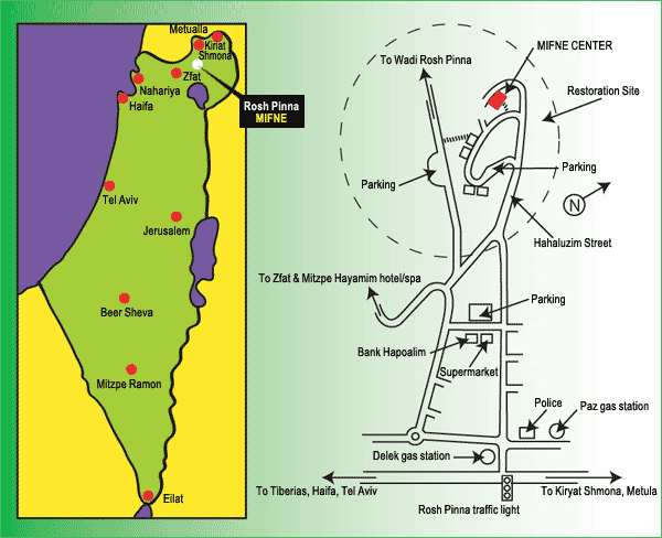 Map of Rosh Pinna, Israel